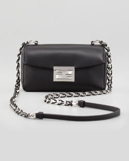 Fendi Mini Be Leather Crossbody Baguette, Black