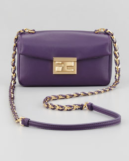 Fendi Mini Be Leather Crossbody Baguette, Violet