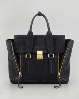 3.1 Phillip Lim Pashli Mixed-Media Medium Satchel Bag, Black