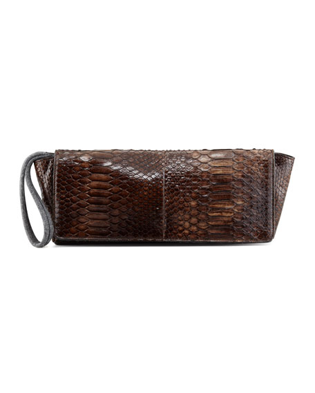 Shiny Python Wristlet Clutch Bag, Brown