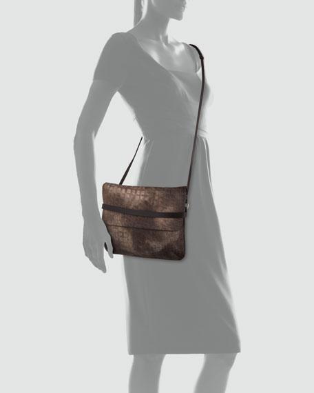 Cocco Crocodile-Stamped Shearling Fur Crossbody Bag, Gray