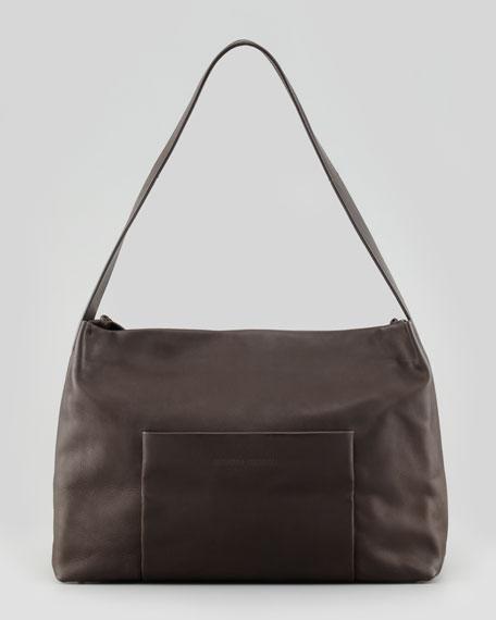 Vitello Front-Pocket Shoulder Bag, Espresso