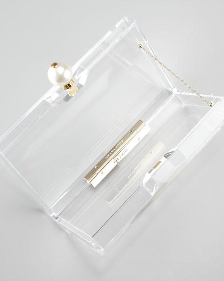 Pandora Pearly-Clasped Perspex Clutch