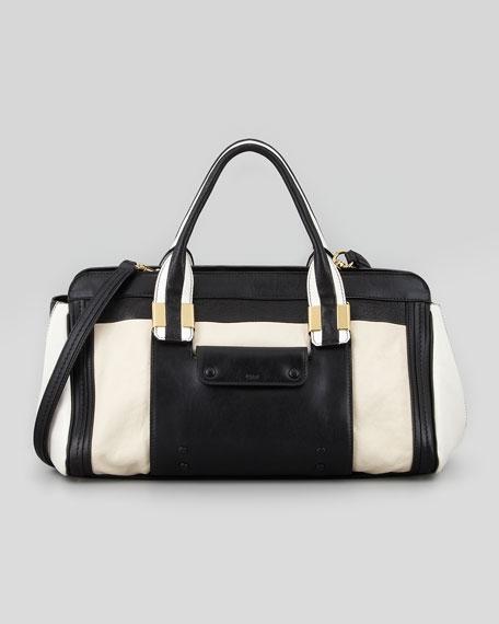 Alice Medium Patchwork Shoulder Bag, Black/White