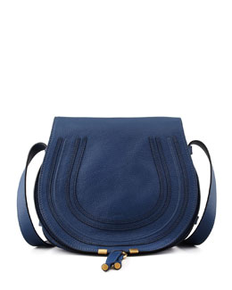 Chloe Marcie Leather Satchel Bag, Navy