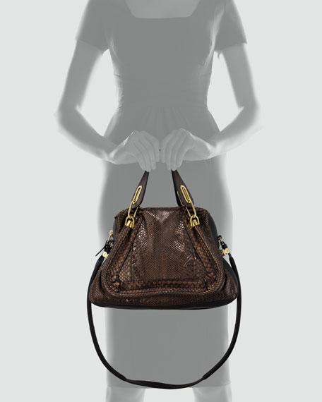 Paraty Medium Metallic Python Shoulder Bag, Gold