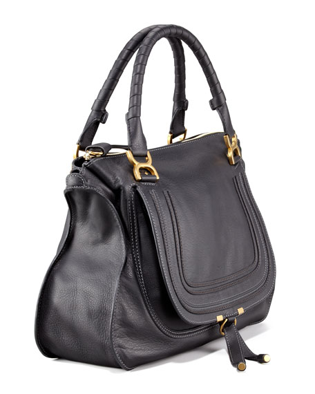 Marcie Large Leather Satchel Bag, Black