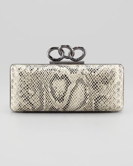 Diane von Furstenberg Sutra Snake-Print Chain-Top Clutch Bag, Natural