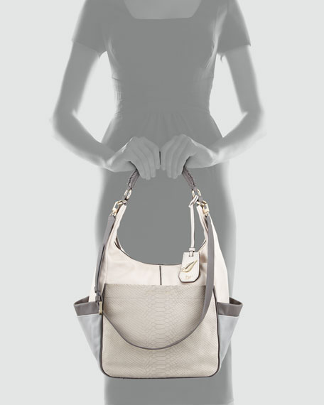 Franco Python-Embossed Nubuck Hobo Bag, White/Gray