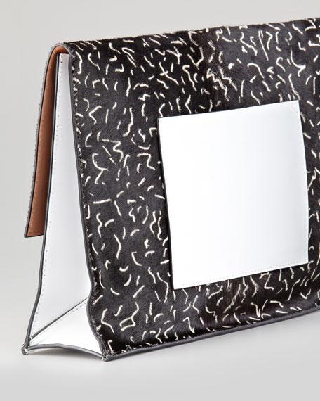 Large Printed Calf Hair Lunch Bag Clutch, Black/White