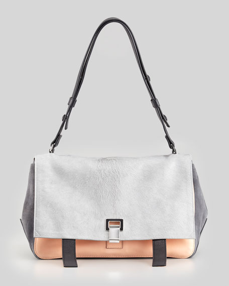 PS Courier Shoulder Bag, Gray/Pink
