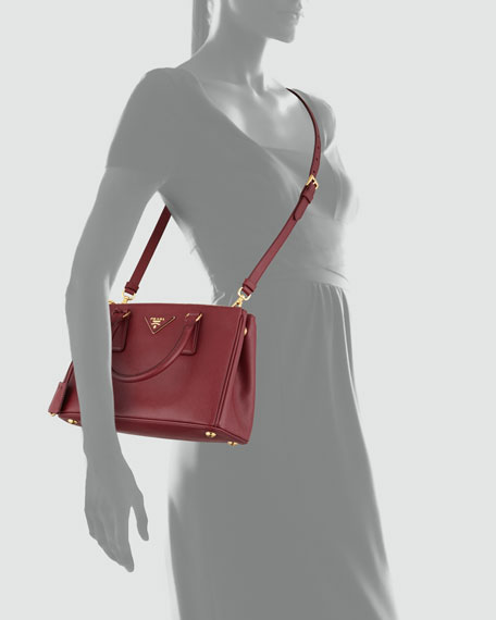 70146910dea5 Prada Mini Saffiano Lux Tote Bag, Wine (Cerise)