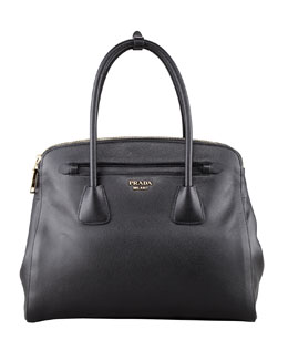 Prada Saffiano Cuir Large Double-Zip Tote Bag, Black