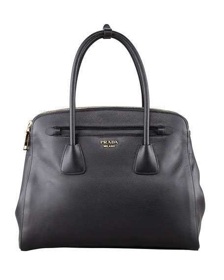 Saffiano Cuir Large Double-Zip Tote Bag, Black