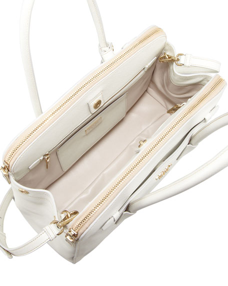 Prada Saffiano Cuir Large Double-Zip Tote Bag, White (Talco)