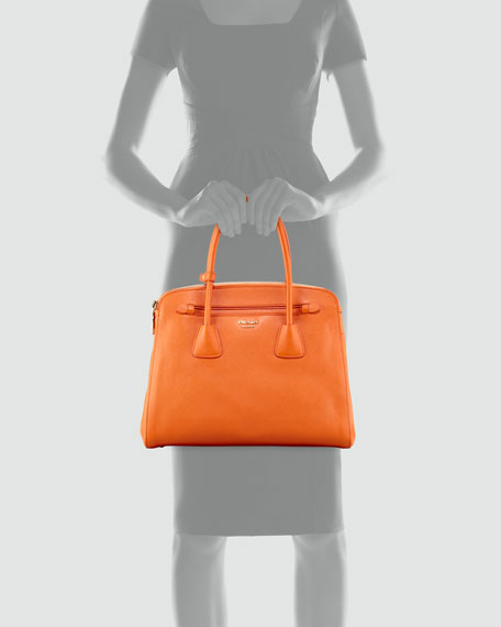Saffiano Cuir Large Double-Zip Tote Bag, Orange