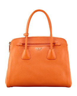 Prada Saffiano Cuir Large Double-Zip Tote Bag, Orange