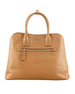 Prada Saffiano Cuir Open Promenade Tote Bag, Brown