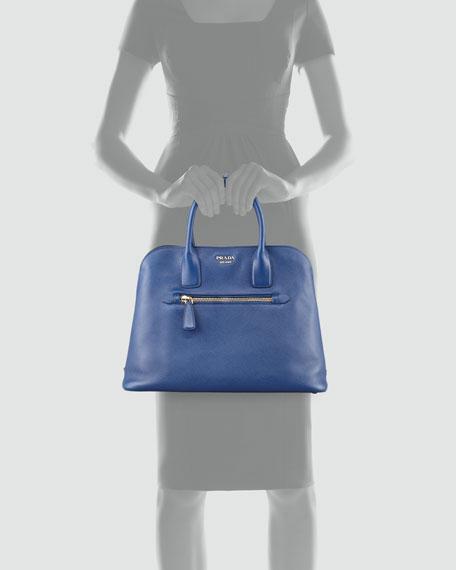 Saffiano Cuir Open Promenade Tote Bag, Blue (Bluette)