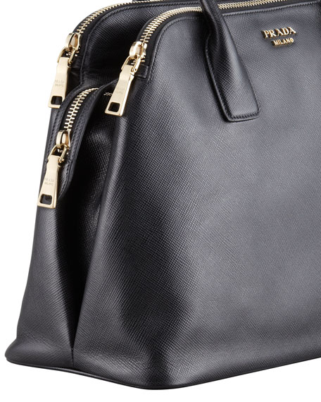 Saffiano Cuir Triple-Zip Dome Tote Bag
