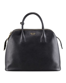 Prada Saffiano Cuir Triple-Zip Dome Tote Bag