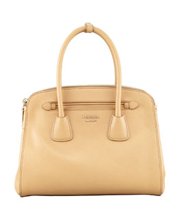 Prada Saffiano Cuir Small Double-Zip Tote Bag, Beige
