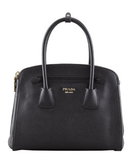 Prada Saffiano Cuir Small Double-Zip Tote Bag, Black