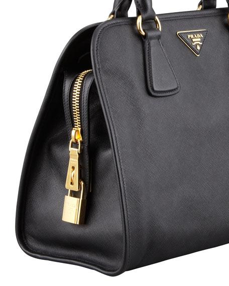Saffiano Soft Triple-Zip Satchel Bag, Black