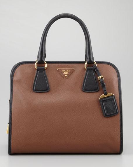 Saffiano Soft Triple-Zip Satchel Bag, Brown/Black