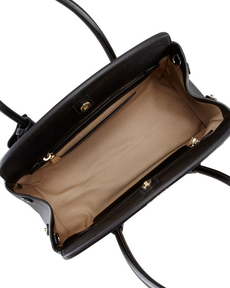 Canvas & Saffiano Cuir Small Tote Bag, Natural/Black