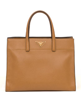Prada Saffiano Soft Triple-Pocket Tote Bag, Brown