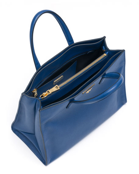 Saffiano Soft Triple-Pocket Tote Bag, Blue (Bluette)