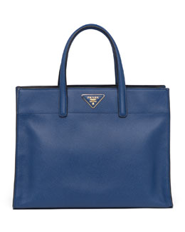 Prada Saffiano Soft Triple-Pocket Tote Bag, Blue