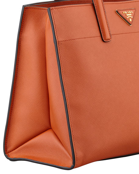 Saffiano Soft Triple-Pocket Tote Bag, Orange (Papaya)