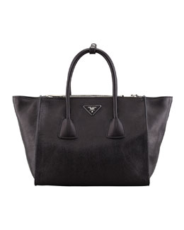 Prada Glace Calf Twin Pocket Tote Bag, Black (Nero)