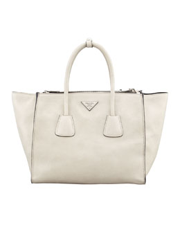 Prada Glace Calf Twin Pocket Tote Bag, Off White