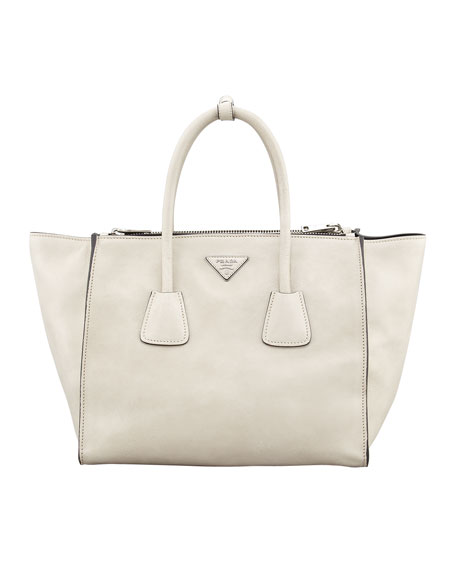 b3ff2b26cce2 Prada Glace Calf Twin Pocket Tote Bag