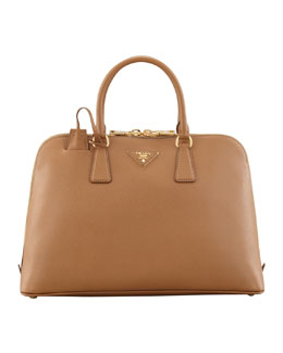 Large Saffiano Promenade Bag, Brown (Caramel)
