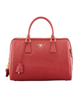 Prada Saffiano Bowler Bag, Red