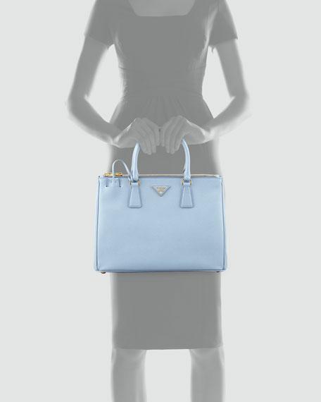 Saffiano Small Double-Zip Executive Tote Bag, Blue (Astrale)