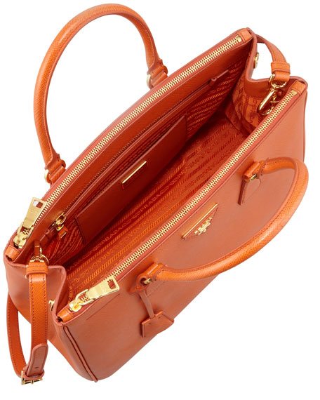 f3060a49d9bd Prada Saffiano Double-Zip Executive Tote Bag, Orange (Papaya)