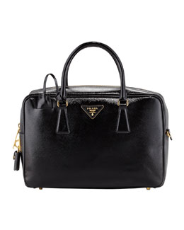 Prada Saffiano Vernice TV Bag, Black