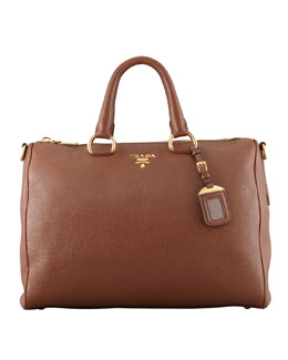 Prada Daino Zip-Top Tote Bag, Brown
