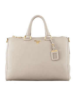 Prada Daino Zip-Top Tote Bag, Light Gray