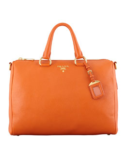 Prada Daino Zip-Top Tote Bag, Orange