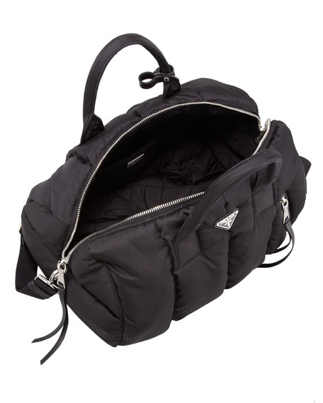 Prada Tessuto Bomber Duffel Bag, Black (Nero)