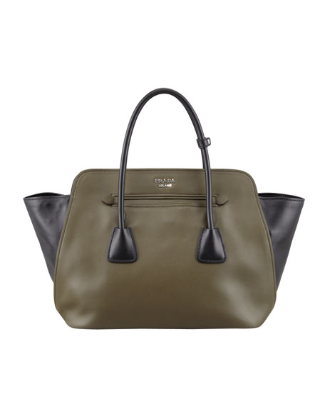 Bicolor Soft Calfskin Tote Bag, Green/Black (Military+Nero)