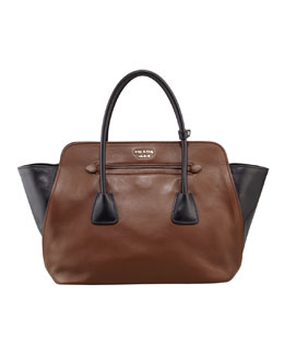 Prada Bicolor Soft Calfskin Tote Bag, Brown/Black