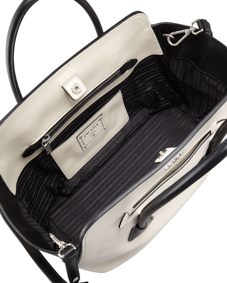 Bicolor Soft Calfskin Tote Bag, White/Black (Talco+Nero)