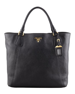 Prada Daino Snap-Top Tote Bag, Black